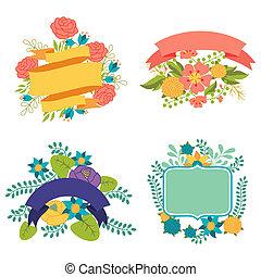 ensemble, étiquettes, éléments, conception, rubans, fleurs