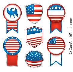 ensemble, étiquettes, américain, illustration, traditionnel, couleurs, emblèmes, divers, graphiques
