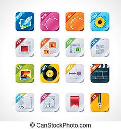 ensemble, étiquettes, carrée, fichier, icône