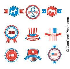 ensemble, étiquettes, symboles, objets, divers, graphiques, vote, emblèmes