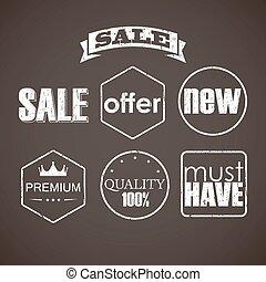 ensemble, étiquettes, vente