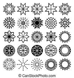 ensemble, étoile, icônes, résumé, collection, formes, étoiles, géométrique, lineart