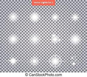 ensemble, étoile, lueurs, lumière, feux artifice, clair