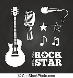 ensemble, étoile, musicien, éléments, rocher, ou