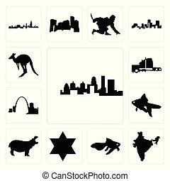 ensemble, étoile, semi, hippopotame, icônes, kangourou, kentucky, état, inde, david, poisson rouge, fond, missouri, camion, blanc, contour