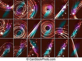 ensemble, étoiles, espace, couleur, lumière, résumé, lignes, sombre, incandescent, effets, fond