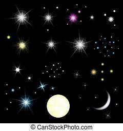 ensemble, étoiles, lune