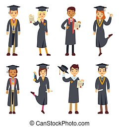 ensemble, étudiants, université, jeune, diplômé, vecteur, collège, caractères