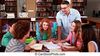 ensemble, étudier, étudiants, l