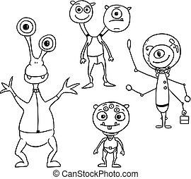 ensemble, 04, étrangers, astronautes, dessin animé, vecteur, amical