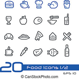 //, ensemble, 1/2, icônes, nourriture, série, -, ligne