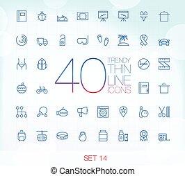ensemble, 14, icônes, 40, mince, branché