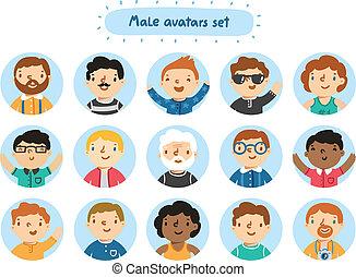 ensemble, 15, avatars, caractères, mâle