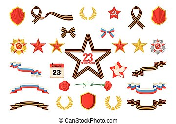 ensemble, 23, apparenté, objets, february., militaire