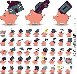 ensemble, 48, icônes, économies, tirelire