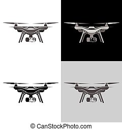 ensemble, aérien, quadrocopter, air, bourdon, icône
