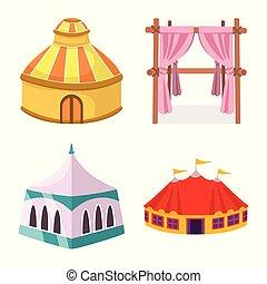 ensemble, abri, signe., web., illustration, vecteur, marquise, baldaquin, symbole, stockage