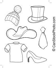 ensemble, accessoires, vêtements