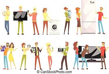 ensemble, achats, choisir, gens, conjugal, équipement, objets, caractères, département, maison, sourire, électronique, dessin animé, magasin, heureux