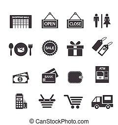 ensemble, achats, icône