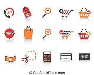 ensemble, achats, icônes, couleur, série, orange, rouges