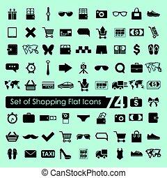 ensemble, achats, icônes
