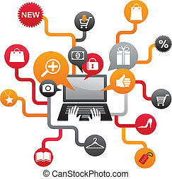 ensemble, achats, icônes internet