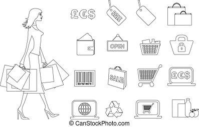 ensemble, achats, noir, ligne mince, vente au détail, icône