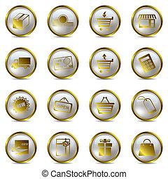 ensemble, achats, or, icônes