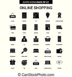 ensemble, achats, vecteur, ligne, icône, glyph