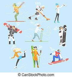 ensemble, activities., hiver, illustration, sports, vecteur