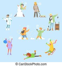 ensemble, activities., hiver, illustration, vecteur, amusement