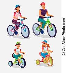 ensemble, adultes, illustration, bicycles, vecteur, équitation, enfants