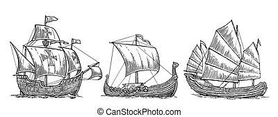 ensemble, affiche, bateaux, postmark., mer, flotter, element., caravel, vendange, drakkar, isolé, dessiné, blanc, illustration, main, étiquette, fond, junk., waves., gravure, voile, vecteur, conception