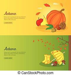 ensemble, affiche, illustration, automne, vecteur, collection, bannière, ou