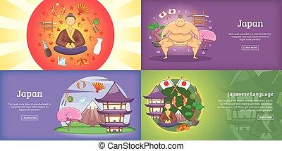 ensemble, affiche, illustration, vecteur, japon, bannière, ou