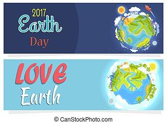 ensemble, agitation, affiches, la terre, international, sauver, jour