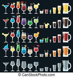 ensemble, alcool, coloré, boissons