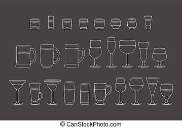 ensemble, alcoolique, lunettes, boissons