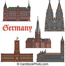 ensemble, allemand, voyage, architectural, repère, icône