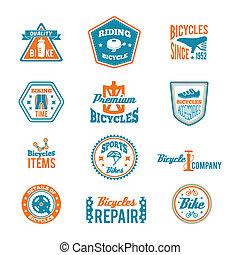 ensemble, aller bicyclette, étiquette