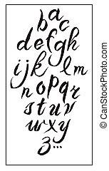ensemble, alphabet, hand-drawn, encre, blanc, calligraphie