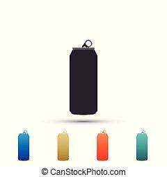 ensemble, aluminium, couleur, isolé, illustration, arrière-plan., vecteur, icons., blanc, icône, éléments, boîte