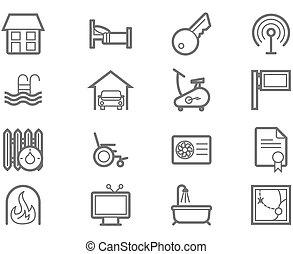 ensemble, aménagements, logement, icône