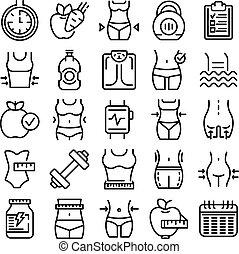 ensemble, amaigrissement, contour, style, icônes