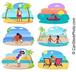 ensemble, amour, bord mer, illustration, couples, vecteur