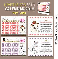 ensemble, amour, chien, 3, 2015, calendrier