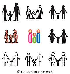 ensemble, amour, famille, icônes