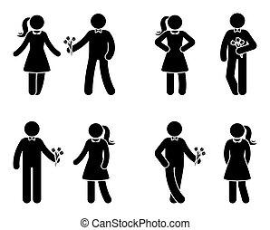 ensemble, amour, figure, couple, crosse, icône