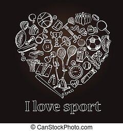 ensemble, amour, griffonnage, main, sport, dessiné
